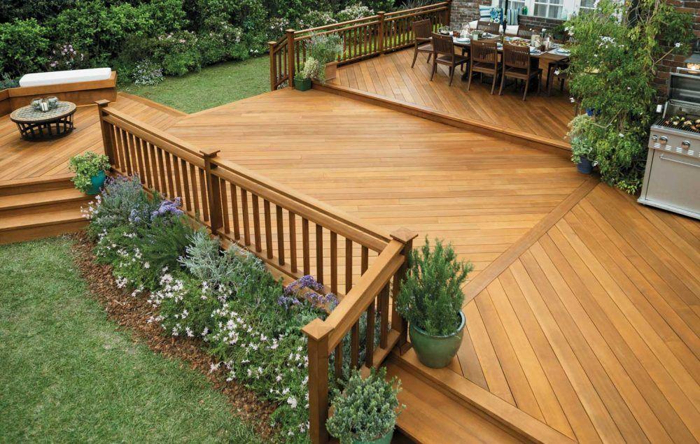 Terraza de madera natural